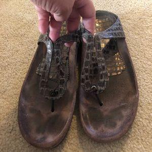 Brown croc embossed thongs